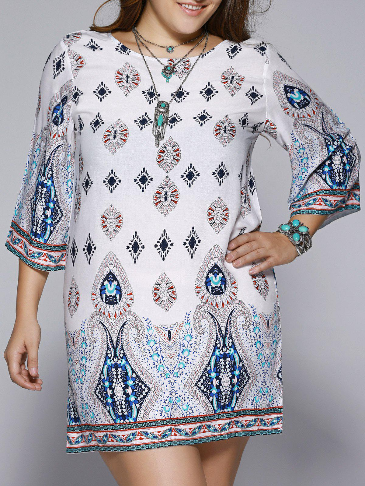 Plus Size Ethnic Print Open Back Shift DressWOMEN<br><br>Size: 5XL; Color: COLORMIX; Style: Brief; Material: Polyester; Silhouette: Straight; Dresses Length: Mid-Calf; Neckline: Jewel Neck; Sleeve Length: 3/4 Length Sleeves; Pattern Type: Print; With Belt: No; Season: Spring,Summer; Weight: 0.180kg; Package Contents: 1 x Dress;