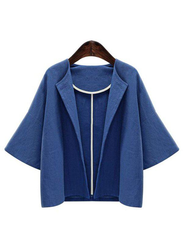 Pure Color de Bell Veste Manches Loose Women Casual  's Bleu L