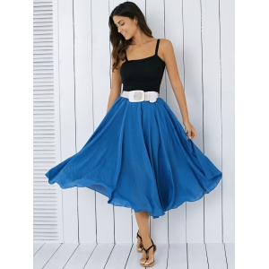 High Waisted Frilly Chiffon Midi Skirt With Belt - Blue - One Size