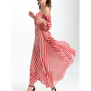 Charming Maxi High Waist Hollow Out Striped Women's Dress - Stripe - 2xl