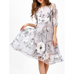 See-Thru Floral Print Organza Midi Dress - Light Gray - M