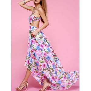 Plunge Backless Floral Maxi Flowy Dress - White - M