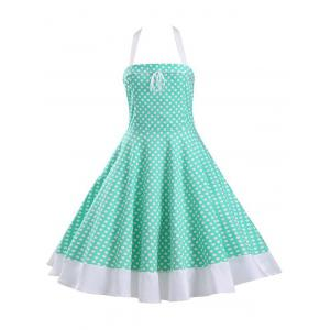 Halter Polka Dot Lace-Up Tea Length A Line Dress