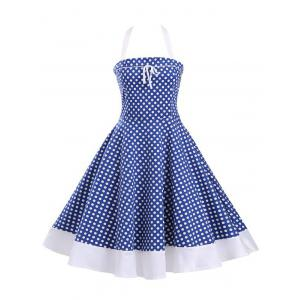 Halter Polka Dot Lace-Up Tea Length A Line Dress - Blue - S