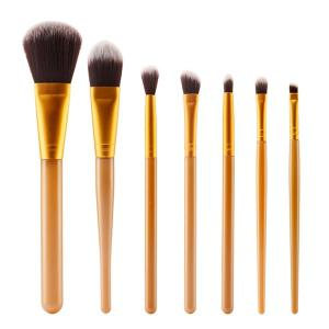 Stylish 7 Pcs Plastic Handle Nylon Face Eye Makeup Brushes Set