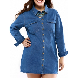 Denim Plus Size Long Sleeve Shirt Dress