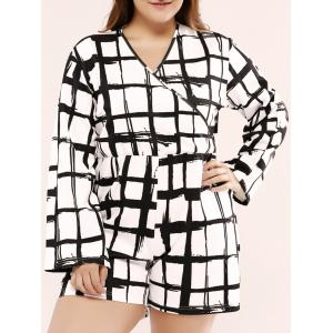 Plus Size Long Sleeve Plaid Short Romper - White And Black - 2xl