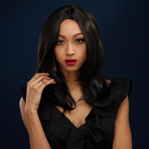 Fashion Medium Straight Middle Part Black Synthetic Hair Wig