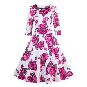 Vintage 3/4 Sleeve Floral Dress
