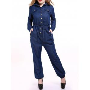 Plus Size Casual Mechanic Single Breasted Denim Jumpsuit - Blue - 7xl