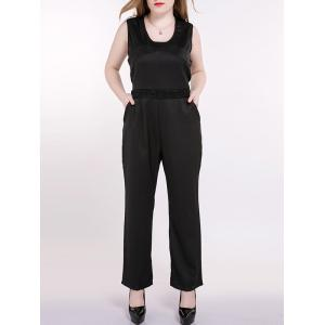 Plus Size Sleeveless Lace Splicing Back Jumpsuit