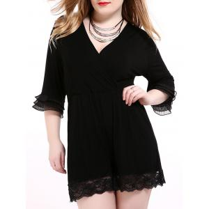Oversized Alluring Layered Sleeve Lace Splicing Romper