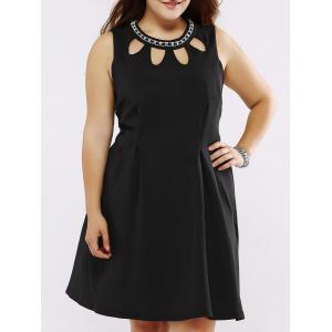 Plus Size Rhinestoned Embellished Swing Dress