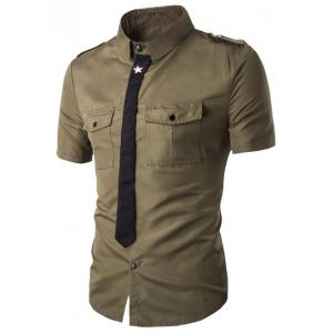 Fake Necktie Emblem Pockets Embellished Shorts Sleeves Shirt For Men - Army Green - M
