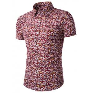 Casual Shirt Collar Fitted Floral Shirt For Men