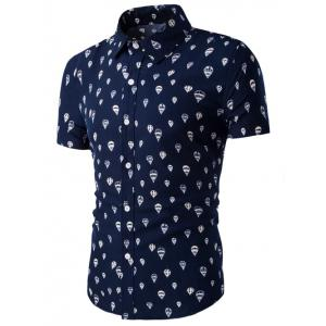 Fire Balloon Printing Fitted Shirt Collar Short Sleeves Shirt For Men