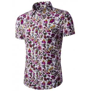 Flower Print Shirt Collar Short Sleeves Shirt For Men