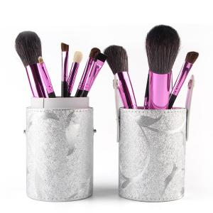 Stylish 12 Pcs Goat Hair Pony Hair Face Eye Lip Makeup Brushes Set with Brush Holder - Black