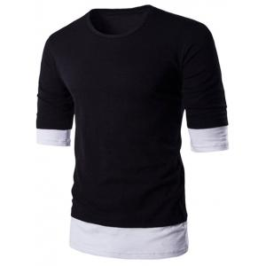 Brief Style Round Neck Color Block Half Sleeve T-Shirt For Men
