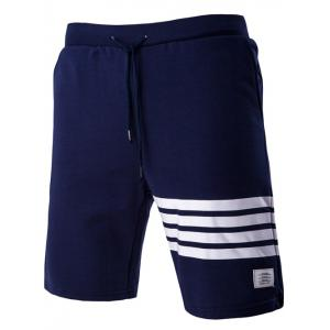 Classic Stripes Design Drawstring Waistband Shorts For Men
