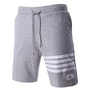 Classic Stripes Design Drawstring Waistband Shorts For Men - Gray - Xl