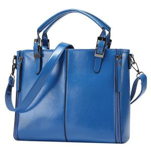 Fashionable Zippers and Buckles Design Tote Bag For Women - Blue