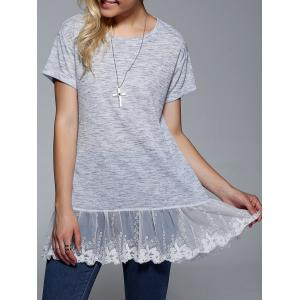 Lace Splicing Short Sleeve T-Shirt