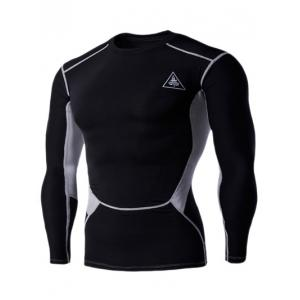 Color Block Round Neck Long Sleeves Compression T-Shirt For Men
