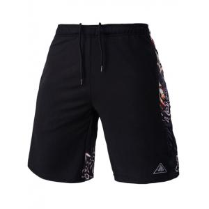 Mesh Design Ethnic Print Lace-Up Straight Leg Sports Shorts For Men - Black - L