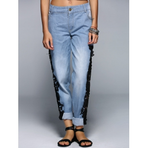 Fashionable Applique Hollow Out Denim Pants For Women -