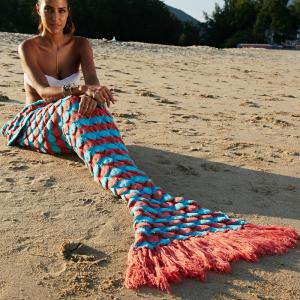 High Quality Wool Knitting Fish Scale and Tassel Design Mermaid Shape Blanket - JACINTH