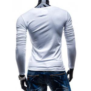 Brief Style Pure Color Pocket Design Long Sleeve Tee For Men - WHITE 2XL