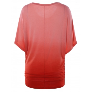 Scoop Neck Dolman Sleeve Ombre T-Shirt - WATERMELON RED XL