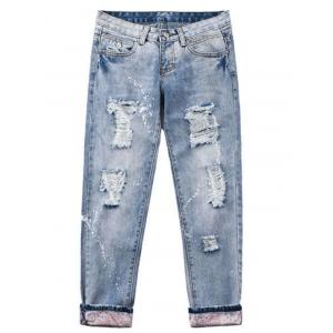 Wash Bleach Destroyed Painted Jeans -