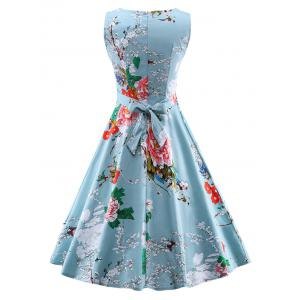 Vintage Tie Back Floral Print Swing Tea Dress -