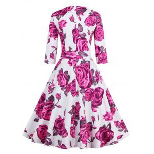 Vintage 3/4 Sleeve Floral Dress - PINK 3XL