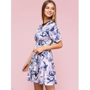 Graceful Puff Sleeve Floral Flare Dress For Women -