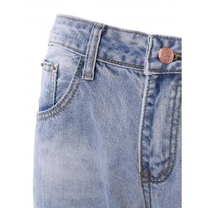 Fashionable Broken Hole Patch Design Women's Jeans -