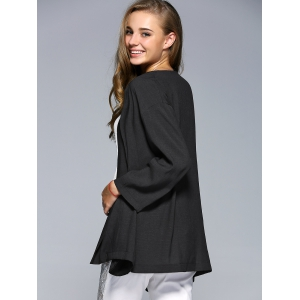 Simple Style Collarless Long Sleeve Women's Blouse -