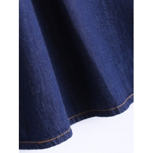 Plus Size Casual Single Breasted Denim Skirt -