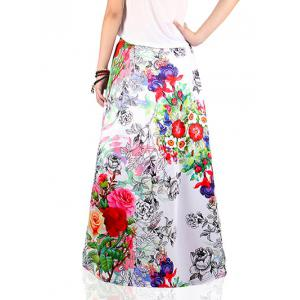 Ethnic Style Floral Print Skirt -
