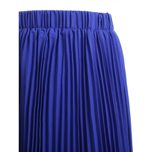 High Waisted Pleated Chiffon Tea Length Skirt -
