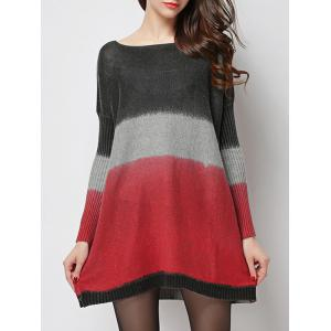 Casual Style Jewel Neck Ribbed Sleeve Tie-Dye Sweater For Women -