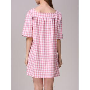 Cute Plaid Pattern Pocket Design Dress For Women -