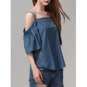 Chic Cold Shoulder Flare Sleeve Solid Color Blouse For Women -
