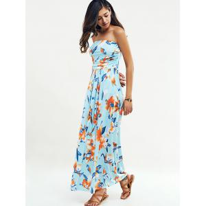 Beach Maxi Floral Bandeau Strapless Summer Dress -