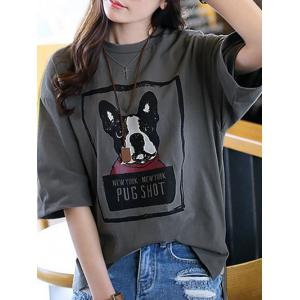 Casual 3/4 Sleeve Dog Printed Drop Shoulder T-Shirt For Women -
