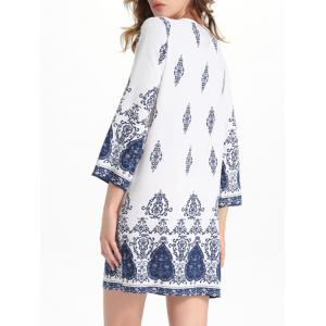 Bell Sleeve Cut Out Print Crochet Trim Peasant Dress - WHITE M