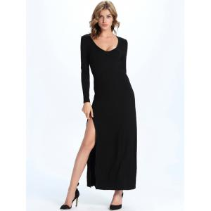Maxi Long Sleeve High Slit Party Dress - BLACK 2XL