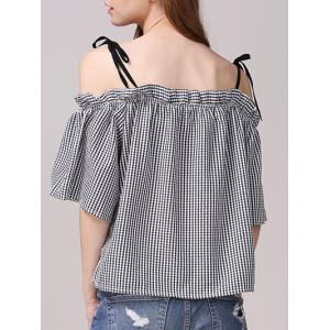 Sweet Cold Shoulder Checkered Bowknot Blouse For Women -